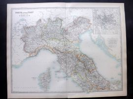 Johnston 1896 Large Antique Map. North & Central Italy & Corscia